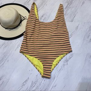 New! Topshop Textured Stripe One Piece Swimsuit